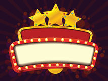 Banner. Cinema gold vector banner with stars Royalty Free Stock Image