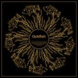 Banner Cirkel Gouden Ornament op Zwarte achtergrond, voor Behang royalty-vrije illustratie