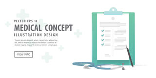Banner clipboard and stethoscope and pen illustration vector Stock Images