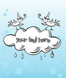 Banner Cloud With Birds Royalty Free Stock Photo