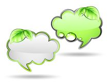 Banner cloud with green leaf. Vector Stock Photo