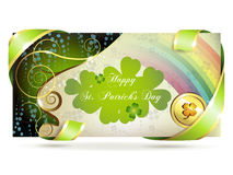 Banner with clover and coin Royalty Free Stock Photos