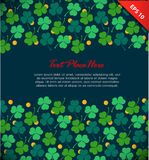 Banner with clover, trefoil. St. Patrick`s day. Design template with decorative floral elements and gold coins. Royalty Free Stock Images