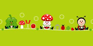 Banner Cloverleaf Fly Agaric And Ladybug Icons Green. Horizontal Banner Cloverleaf Fly Agaric And Ladybug Icons Green stock illustration