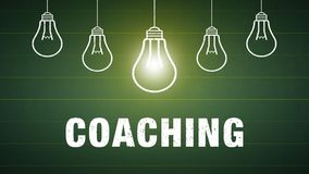 Banner Coaching - bulbs and text Stock Photos