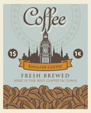 Banner with coffee beans and Big Ben in London Royalty Free Stock Photography