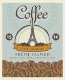 Banner with coffee beans and Eiffel tower in Paris Royalty Free Stock Images