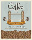 Banner with coffee beans and London tower bridge Stock Image