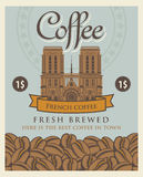 Banner with coffee beans and Notre Dame de Paris Stock Images