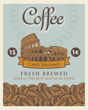 Banner with coffee beans and Roman coliseum Stock Photo