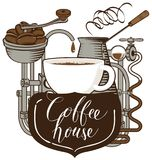 Banner with a coffee cup and retro coffee machine Royalty Free Stock Images