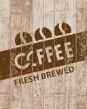 Banner with coffee grains on wooden background Stock Images