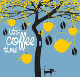 Banner for a coffee house with a picture of a tree. Vector banner for a coffee house with a picture of a tree on which are hung cups, a teapot, coffee beans and Stock Photography