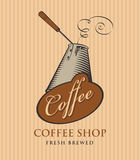 Banner for coffee shop with coffee cezve. Template vector banner for coffee shop with cezve and calligraphy inscription on striped background in retro style Stock Image