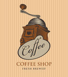 Banner for coffee shop with coffee grinder Royalty Free Stock Photo
