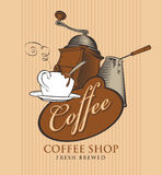 Banner for coffee shop with cup, grinder and cezve. Template vector banner for coffee shop with cup of coffee, grinder, cezve and calligraphy inscription on Royalty Free Stock Photography
