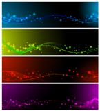 Banner collection. Magic abstract lines neon multicolored web banner set Stock Photos