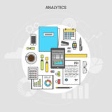 Banner collection concept analytics. Banner concept analytics, workplace collection of office items, equipment, and mobile devices, flat design icon, top view Stock Images