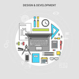 Banner collection concept office top view of things. Banner concept design and development, workplace collection of office items, equipment, and mobile devices Royalty Free Stock Photography
