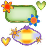 Banner collection with flowers and hearts Stock Photography