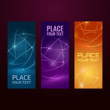 Banner collection. Three abstract banners collection. Modern vector digital background. Abstract geometric design. Flyer, brochure, poster template with text Royalty Free Stock Image