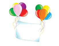 Banner with color balloons Royalty Free Stock Photography