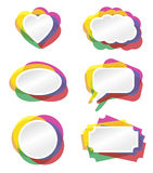 Banner color fill. Heart, bubble and other banner  illustration with colored border Stock Photography