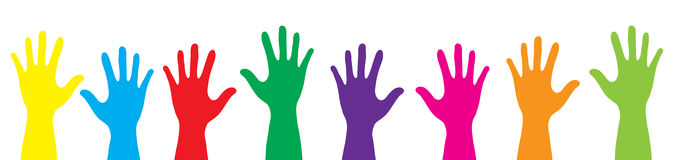 Banner color hands rise up. Vector illustration.  Royalty Free Stock Photo