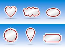 Banner color variation. Heart, bubble and other banner  illustration with border Royalty Free Stock Photo