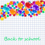 Banner with colored balloons, squared paper, letters. Royalty Free Stock Images