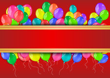 Banner with colorful balloons. Illustration of banner with colorful glossy balloons on red background Royalty Free Stock Image