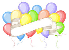 Banner with colorful balloons Royalty Free Stock Photography