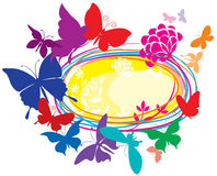 Banner with colorful butterflies. Banner with colorful silhouette butterflies Stock Images