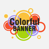 Banner from colorful circles, logo abstract background, design o. Verlaid circles, flat design,  image Stock Photo
