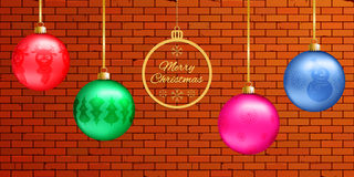 Banner with colorful 3d glass balls with figures: deer, tree, snowman and snowflakes. Flat golden ball with the text Merry Christm Stock Images
