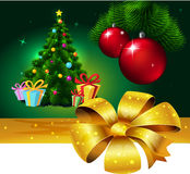 Banner with Colorful fir xmas tree and gift - vector Royalty Free Stock Photography