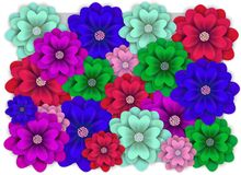 Banner with colorful flower for wedding, birthday, holidays royalty free illustration