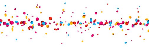 Banner with colorful glossy confetti. White festive banner with colorful glossy confetti. Vector paper illustration Royalty Free Stock Photography