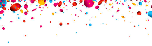 Banner with colorful glossy confetti. White festive banner with colorful glossy confetti. Vector paper illustration Royalty Free Stock Photos