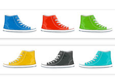 Banner with colorful sneakers Royalty Free Stock Images