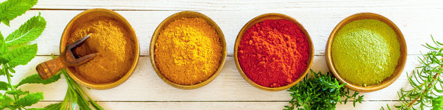 Banner with colourful spices Stock Photo