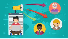 Banner - concept of blogging. Vector horizontal banner. Concept of blogging, chat online and communication. Man with computer and megaphone writing content for Stock Images