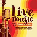Banner for concert live music with guitar and mic. Vector music poster for a concert live music with the image of a guitar and microphone on the colored stock illustration