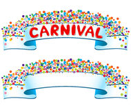 Banner with confetti and carnival word Stock Image