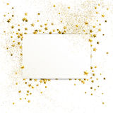 Banner with Confetti of Gold Stars and Sparkles. On white background Stock Photography