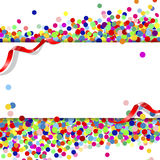 Banner with confetti. And ribbons Stock Photo
