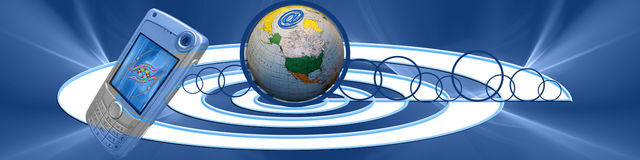 Banner: Connect. This banner has a creative and interesting center with connecting circles. The @, circles and globe are symbolic for world wide internet Royalty Free Stock Image