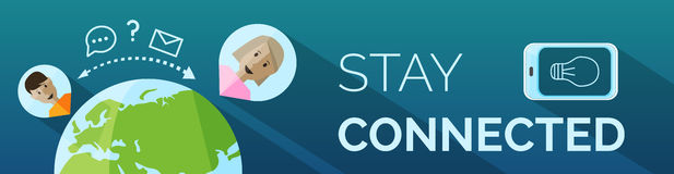 Banner, connect, flat design Stock Photography
