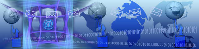 Banner: Connectiviteit tussen de continenten Stock Afbeelding