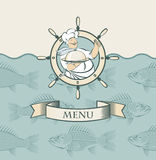 Banner with cook. And the fish in the sea Stock Photo